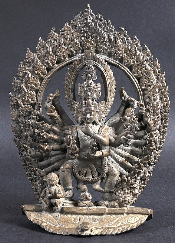 A 19TH CENTURY NEPALESE BRONZE FIGURE OF GODDESS