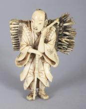 A GOOD QUALITY JAPANESE MEIJI PERIOD IVORY OKIMONO OF A STANDING FAGGOT GATHERER, 2.75in high.