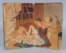 AN UNUSUAL ORIENTAL EUROPEAN SUBJECT EROTIC ALBUM, containing five double-page paintings on silk, the album when closed 7.3in x 4.75in x 1.2in deep.