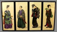 A SET OF FOUR EARLY 20TH CENTURY JAPANESE FRAMED FIGURAL PAINTINGS ON SILK, the frames 31.75in x 14in (4).