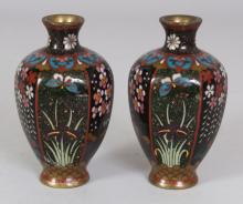A SMALL PAIR OF EARLY 20TH CENTURY JAPANESE MEIJI PERIOD HEXAGONAL SECTION CLOISONNE VASES, 3.7in high.