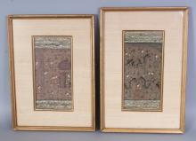 A PAIR OF 20TH CENTURY FRAMED PERSIAN PAINTINGS ON PAPER, each frame 14.4in x 10.5in.