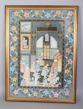 A 20TH CENTURY FRAMED PERSIAN PAINTING ON PAPER, the frame 22.75in x 16.9in.