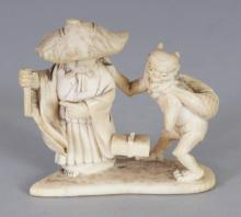 SIGNED JAPANESE MEIJI PERIOD IVORY NETSUKE OF A MAN & AN ONI, the man wearing a wide brimmed hat, the base with an engraved signature, 1.8in wide & 1.7in high.