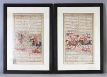 A PAIR OF 20TH CENTURY FRAMED PERSIAN ILLUMINATED PAGES, decorated with script and battle scenes, each frame 18.75in x 13.3in.