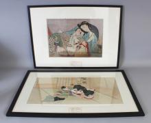 TWO 19TH CENTURY FRAMED JAPANESE SHUNGA PAINTINGS ON SILK, the frames 24.1in x 17.3in & 26.3in x 16.6in. (2)