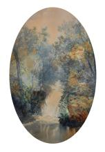 """William Widgery (1822-1893) British. A Wooded Landscape, with a Waterfall, Watercolour, Signed and Dated 1874, Oval, 17.5"""" x 11.5""""."""