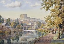 """John Ernest Aitken (1881-1957) British. """"Richmond Castle"""", with Figures in the Foreground, Watercolour, Signed, and Inscribed on a label on the reverse, 14"""" x 19.75"""". Provenance; Gallery Thirty Three, Sussex."""