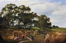 """Sidney Richard Percy (1821-1886) British. """"Landscape and Cornfield"""", a Harvesting Scene, with Figures Cutting and Tying the Corn, and Two Young Children resting by Stooks, Oil on Canvas,"""