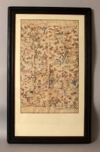 A 19TH CENTURY FRAMED GROUP OF FOUR CHINESE EMBROIDERED SILK SLEEVE PANELS, each decorated in satin and seed stitch with ladies in garden terraces, the frame 30.9in x 19.2in, the four panels together approx. 21in x 13in.