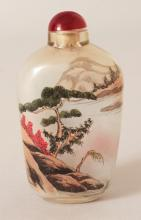 A CHINESE INTERIOR PAINTED GLASS SNUFF BOTTLE, 2.9in high overall.