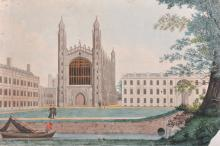 18th Century English School. 'King's College, Cambridge, from the Backs, with the Gibbs Building to the right, with Figures in the foreground, and a Man in a Boat, Watercolour, 13.5