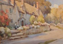 Owen Bowen (1873-1967) British. A Street Scene, with a Figure by a Thatched Cottage, Watercolour, Signed, 13.5