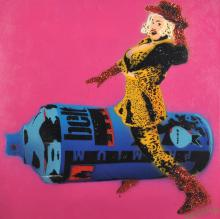 """Rose Popay 'The Art Tart' (1974- ) British. A Lady with a Giant Aerosol, Oil and Glitter on Canvas, Signed, Unframed, 23.5"""" x 23.5""""."""