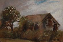 Frederick William Watts (1800-1862) British. A Landscape with a Barn by Trees, Oil on Card, Inscribed on the reverse, 4.5