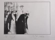 Ralph Steadman (1936-    ) British. An Old Couple Walking, Lithograph, Signed, Inscribed 'for Cyril' and numbered 30/98 in Pencil, 22