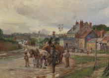 """Charles William Wyllie (1853-1923) British. A Town Scene, with Figures by a Haycart, an Inn beyond, with a Steam Train in the distance, Oil on Board, Signed and Dated 1904, 10"""" x 14""""."""