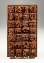 """Ron Hitchins (1926-2019) British, framed ceramic tiles, ceramic sculpture, 14.5 x 8.5""""."""