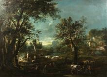 Circle of Giuseppe Zais (1709-1784) Venetian school, Villagers and cattle under moonlight, oil on canvas, 38.5