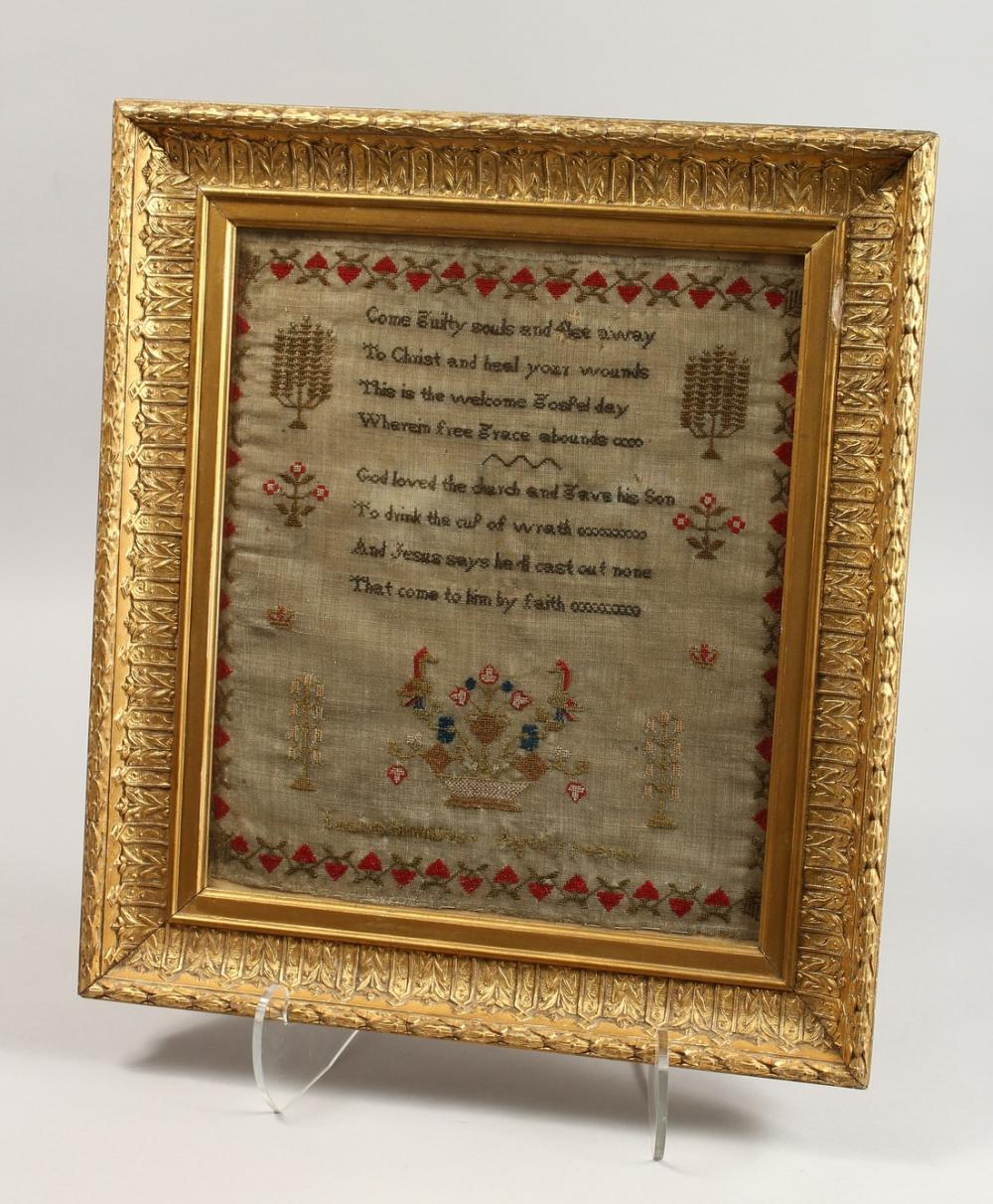 A GOOD SAMPLER in a gilt frame by LOUISE SIMONS, AGE SEVEN. 14.5ins X 12ins.