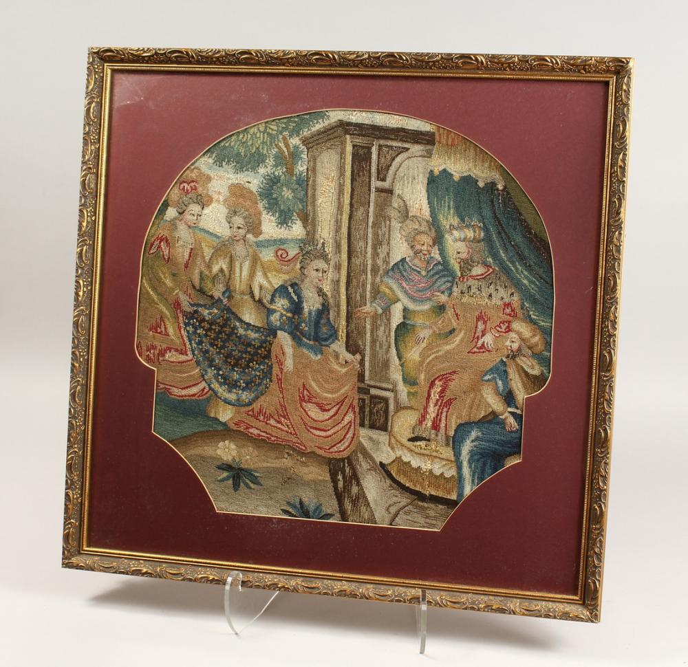 A GOOD FRAMED AND GLAZED 18TH - 19TH CENTURY BRUSSELS NEEDLEWORK TAPESTRY of a king, queen and attendants.