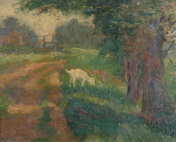 ANTON SMEERDIJK (1885-1965) DUTCH A goat feeding