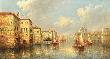 James Salt (1850-1903) British. A Venetian Canal