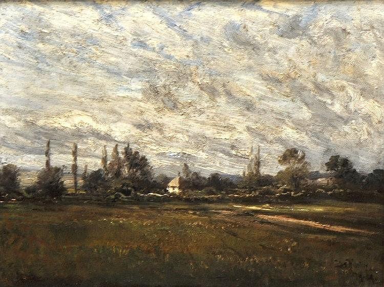 Josef Hahn (1839-1906) German. A wind swept