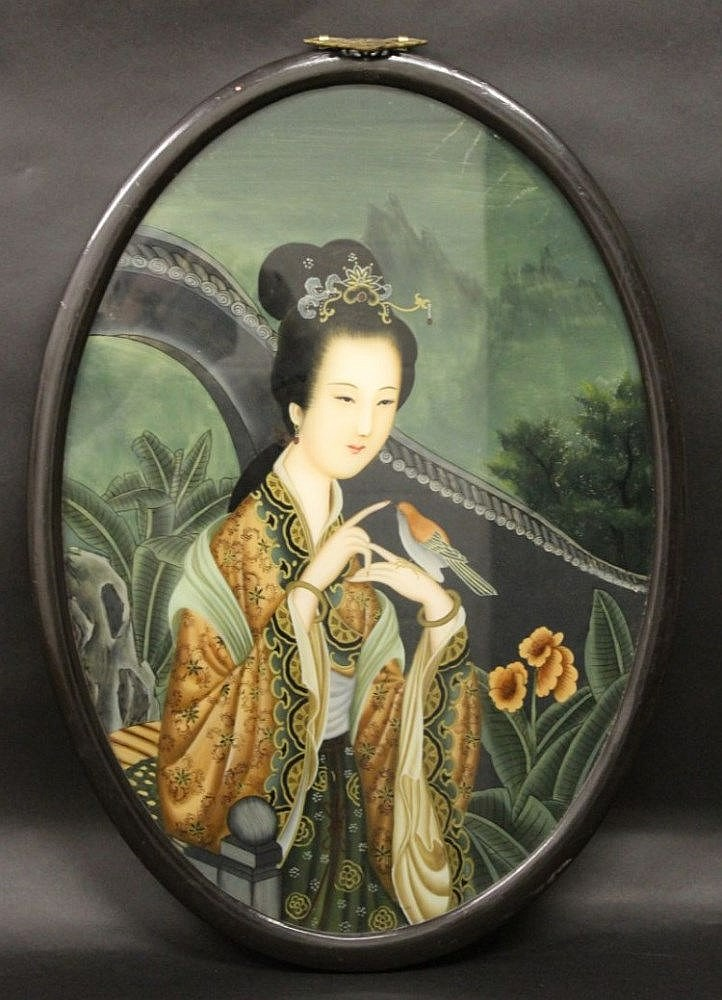 Oval Reverse Glass Chinese Paintings