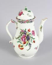 A VERY GOOD 18TH CENTURY WORCESTER COFFEE POT AND COVER, CIRCA. 1770, painted with flowers. <br>8.5ins high.