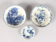 TWO VARIOUS WORCESTER BLUE AND WHITE SAUCERS, 4.75ins & 4.5ins, and A TINY DISH, with fruiting vines, 2.75ins (3).