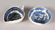 A WORCESTER BLUE AND WHITE PICKLE DISH and A STRAINER DISH (2).