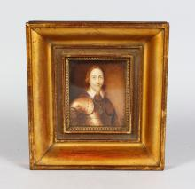 A GILT FRAMED PORTRAIT OF CHARLES I, head and shoulders, in a suit of armour. <br>Monogrammed M.L.L. 1846.  3.75ins x 3ins.