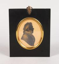 A FRAMED SILHOUETTE OF TOM SHEARBURN WHITE. <br>3.5ins x 2.75ins.