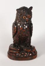 A BLACK FOREST OWL TOBACCO BOX, with lift off head and glass eyes. <br>12ins high.