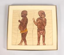 A PEN AND INK PICTURE OF THE AFRICAN BOYS, framed and glazed. <br>11ins x 12ins.