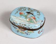 A SMALL JAPANESE CLOISONNE ENAMEL BOX AND COVER, the lid with birds.