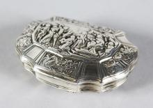 A CONTINENTAL SILVER SHAPED SNUFF BOX, the lid with figures. <br>2.75ins.