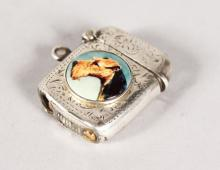 AN ENGRAVED SILVER LIGHTER with a circular enamel of a dog. <br>Birmingham 1905.