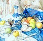 ELENA PETROVA (Born 1971).  'Apples on a blue cloth', Signed, 45 x 50cms., Elena  Petrova, Click for value