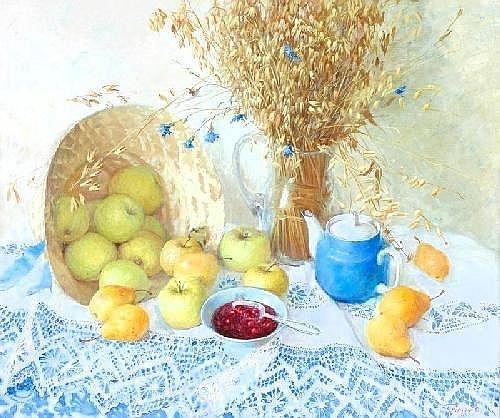 ELENA PETROVA (Born 1971).  'Apples and corn', Signed, 40 x 50cms.