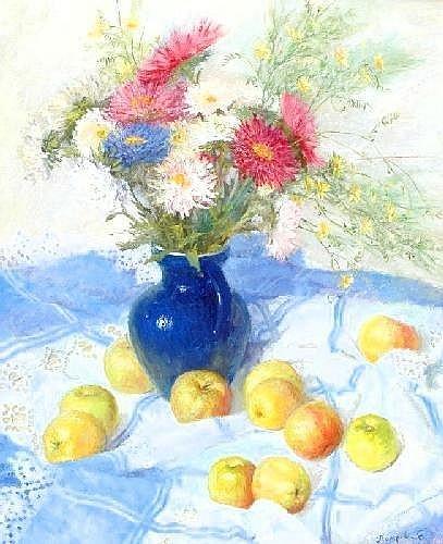 ELENA PETROVA (Born 1971).  'Flowers and apples', Signed, 60 x 48cms.