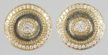 A GOOD PAIR OF 18CT YELLOW GOLD AND DIAMOND CUFFLINKS. <br>