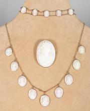 A SUITE OF 9CT GOLD MOUNTED CAMEO JEWELLERY, comprising oval brooch, necklace with nine cameos and bracelet with ten cameos. <br>