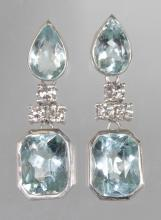 A LOVELY PAIR OF AQUAMARINE AND DIAMOND DROP PENDANTS of approx. 10.50CTS. <br>