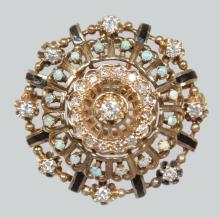 A VERY GOOD DIAMOND, OPAL AND ENAMEL PIERCED CIRCULAR PENDANT BROOCH. <br>