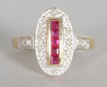 A 9CT GOLD FIVE CALIBRE CUT RUBY AND DIAMOND RING. <br>