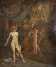 19th Century French School. A Naked Girl, Looking in a Mirror, Oil on Paper, Unframed, 28.5