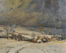 J... Swinnen (20th Century) Dutch. A Snow Covered Landscape, with a Distant Village, Oil on Board, Signed, 20