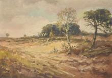 C... Van Der Matt (20th Century) Dutch. A Landscape, with Woods in the distance, Oil on Canvas, Signed, 19.75